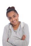 Ciérrese encima de muchacha india asiática con el brazo cruzado Fotografía de archivo libre de regalías