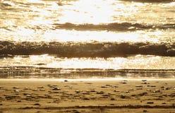 Ciérrese encima de onda de la playa en la puesta del sol Sun que refleja en la playa serena Foco suave fotos de archivo libres de regalías
