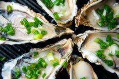Ciérrese encima de ostras abiertas en la placa negra imagenes de archivo