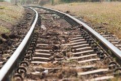 Ciérrese encima de pistas ferroviarias viejas Imagenes de archivo