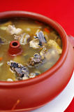 Ciérrese encima de pollo y de la sopa de verduras chinos Fotografía de archivo