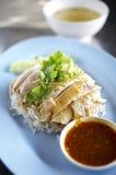 Ciérrese encima de pollo y del arroz cocidos al vapor chino Fotografía de archivo