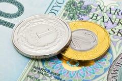 Ciérrese encima de tiro del estudio de la divisa nacional polaca - Zloty fotografía de archivo