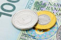 Ciérrese encima de tiro de la divisa nacional polaca - Zloty imágenes de archivo libres de regalías