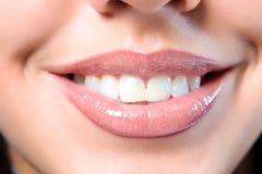 Ciérrese encima de una boca de la muchacha Imagen de archivo