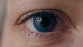 Ciérrese encima de vista del ojo femenino azul hermoso Buena visión, lentes de contacto macras metrajes