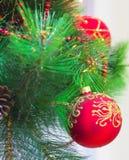 Ciérrese encima del árbol de navidad Fotografía de archivo libre de regalías