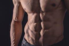 Ciérrese encima del ABS perfecto Torso masculino muscular atractivo seis paquetes Foto de archivo