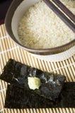 Ciérrese encima del arroz japonés crudo Imagen de archivo