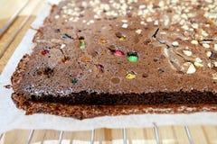 Ciérrese encima del brownie del chocolate Foto de archivo libre de regalías