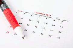 Ciérrese encima del calendario para enero de 2017 Fotos de archivo