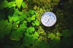Ciérrese encima del compás de madera hecho a mano, sombras del árbol en la tierra verde de la hierba de la naturaleza aventura de Fotos de archivo