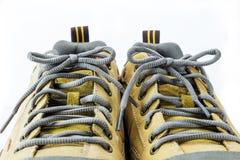 Ciérrese encima del cordón de la bota de la ingeniería Imágenes de archivo libres de regalías