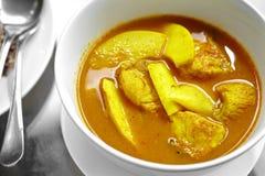 Ciérrese encima del curry amarillo picante tailandés de los pescados fotografía de archivo libre de regalías