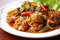 Ciérrese encima del curry picante tailandés del cerdo Foto de archivo libre de regalías