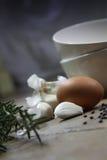 Huevo y ajo foto de archivo libre de regalías