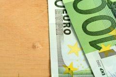 Ciérrese encima del detalle de los billetes de banco euro del dinero Foto de archivo