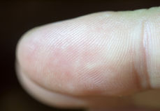 Ciérrese encima del detalle macro de una extremidad del finger y de su impresión foto de archivo libre de regalías