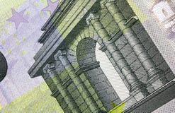 Ciérrese encima del detalle macro del quinto billete de banco euro del dinero Foto de archivo
