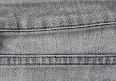 Ciérrese encima del dril de algodón negro Jean Texture con las costuras Imagen de archivo libre de regalías