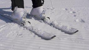 Ciérrese encima del esquiador que camina en las botas de Ski Bindings With His Ski en Sunny Day almacen de metraje de vídeo