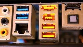 Ciérrese encima del hardware Placa madre con vídeo almacen de metraje de vídeo