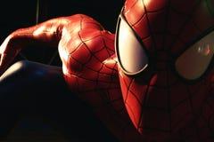 Ciérrese encima del hombre araña, museo de señora Tussauds Foto de archivo