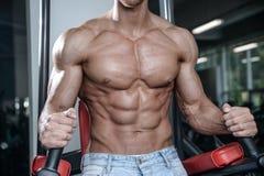 Ciérrese encima del individuo fuerte del ABS que muestra en los músculos del gimnasio imágenes de archivo libres de regalías