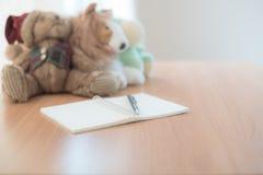 Ciérrese encima del lápiz en el diario Fotos de archivo libres de regalías