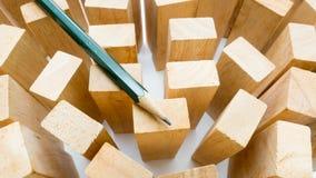 Ciérrese encima del lápiz y de madera Fotos de archivo libres de regalías