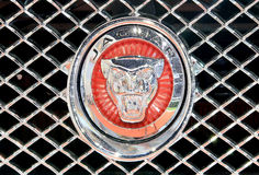 Ciérrese encima del logotipo de Jaguar en el tope Foto de archivo libre de regalías