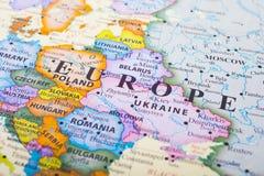 Ciérrese encima del mapa de Europa fotos de archivo libres de regalías