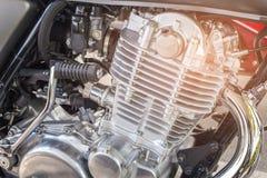 Ciérrese encima del motor de la moto Foto de archivo libre de regalías
