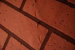 Ciérrese encima del papel pintado anaranjado/rojo marrón de la textura del ladrillo Imágenes de archivo libres de regalías