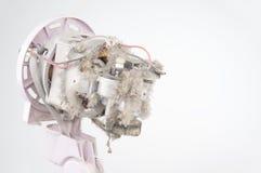 Ciérrese encima del polvo en la fan eléctrica del motor con el espacio de la copia Fotografía de archivo libre de regalías
