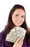 Ciérrese encima del retrato de la muchacha con los dólares (aislados) Imagen de archivo