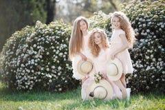 Ciérrese encima del retrato de tres hermanas nativas contra la perspectiva del parque de la primavera Imágenes de archivo libres de regalías