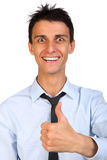 Ciérrese encima del retrato de un hombre de negocios feliz joven de la sonrisa hermosa Fotografía de archivo