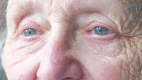 Ciérrese encima del retrato de un ojo mayor del ` s de la mujer almacen de video