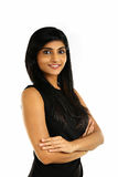 Ciérrese encima del retrato de una mujer de negocios india sonriente foto de archivo libre de regalías