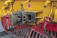 Ciérrese encima del tipo junta de la conexión o frente del nudillo del tren foto de archivo libre de regalías