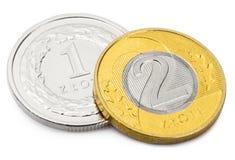 Ciérrese encima del tiro de dos monedas de divisa nacional polaca - Zloty fotos de archivo