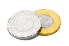 Ciérrese encima del tiro de dos monedas que representan la divisa nacional polaca - Zloty imagenes de archivo