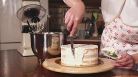 Ciérrese encima del tiro de las manos del ` un s de la mujer, que separa la crema en el lado de la torta metrajes