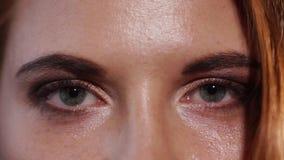 Ciérrese encima del tiro de los ojos de una mujer que se pintan con rimel y sombras almacen de video