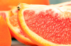 Ciérrese encima del tiro de pulpas anaranjadas Imagenes de archivo