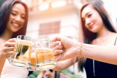 Ciérrese encima del vidrio de cerveza asiático del tintineo del adolescente en día de fiesta en el jardín ho fotografía de archivo libre de regalías