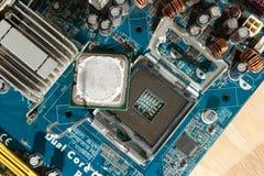 Ciérrese encima del zócalo de la CPU Fotografía de archivo