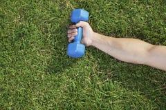 Ciérrese encima a mano de llevar a cabo la pesa de gimnasia azul en hierba, visión desde arriba Foto de archivo libre de regalías