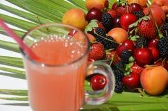 Ciérrese extremadamente encima del vidrio del cóctel tropical sabroso del alcohol con las bayas o la limonada con la decoración h imagen de archivo libre de regalías
